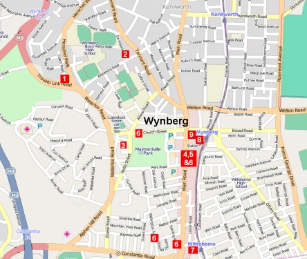 Crime hot spots robberies in Wynberg map