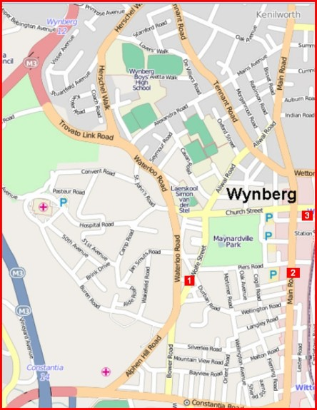 Business burglaries hot spots in Wynberg: map