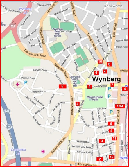 Wynberg crime hot spots: map of thefts from vehicles