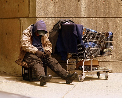 PIcture of homeless person with trolley