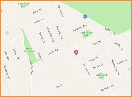 Map of De Wet Road Hall