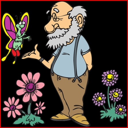 Older person visited by butterfly