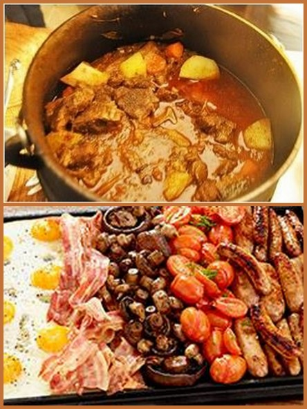 Pictures of curry dish and breakfast selection