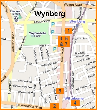 Map of aggravated hotspot robberies in Wynberg