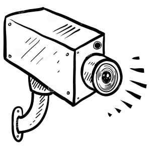 Cartoon of security camera