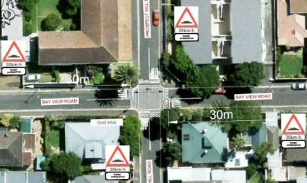 Picture of where the proposed raised intersection between Bayview an dProspect hill will go.