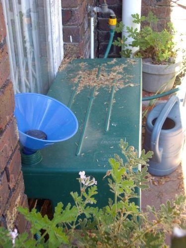 Green tank in garden