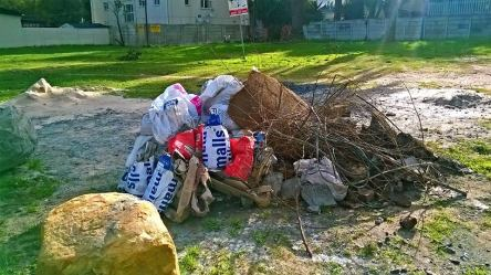 Picture of rubbish dumped on the field