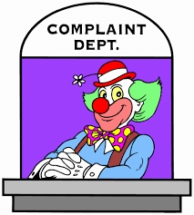 Cartoon of clown at complaints desk