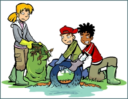 Cartoon of 3 children cleaning up a dam